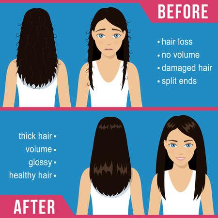 Cuida el cabello liso. Problemas comunes: puntas abiertas, daños, pérdida. Tratamiento antes y después del cuidado del cabello. Vector