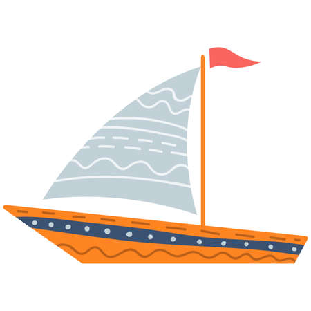 Cute illustration of sea sailing boat for nursery decor, prints and posters, doodle style illustration. Vector