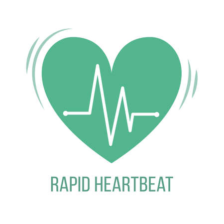 Icon of common symptom of panic disorder - rapid heartbeat. Vector Vector Illustration