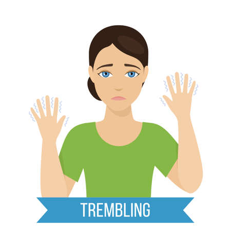 Common symptom of panic disorder - trembling. Vector