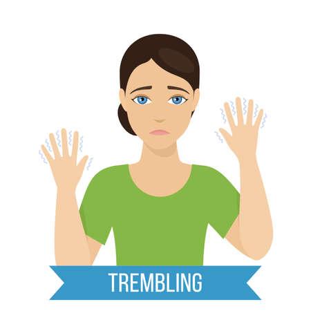 Common symptom of panic disorder - trembling. Vector Illustration