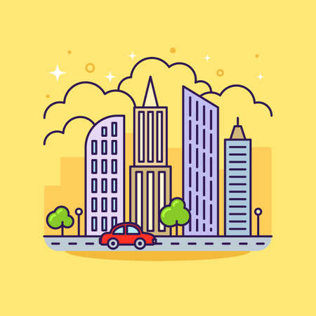 Cute flat line icon of colorful city skyscrapers on yellow background. Vector