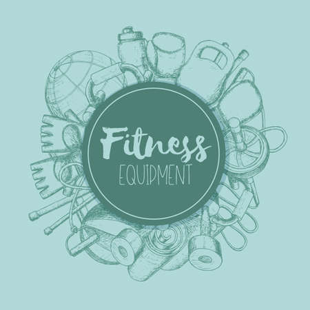 Set of fitness accessories, sketch cartoon illustration of gym equipment for home exercise. Vector Çizim