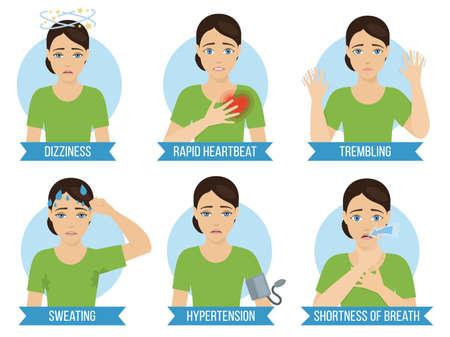 Symptômes courants d'attaque de panique et de trouble panique. Infographie médicale pour brochures et magazines. Vecteur Vecteurs