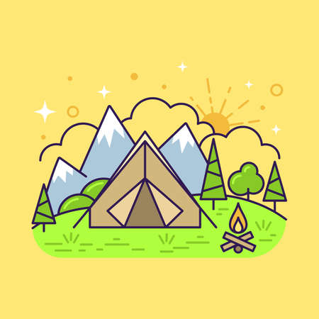 Cute flat line icon of colorful tourist camping tent on yellow background. Vector Çizim