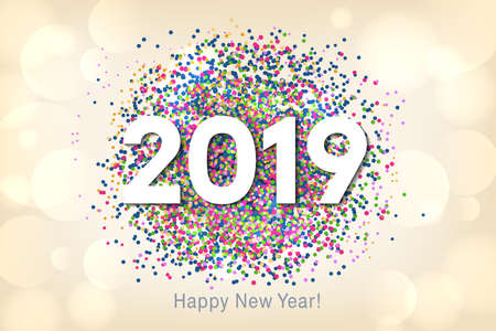 Happy New Year 2019 background with multicolored glitter and confetti. Vector