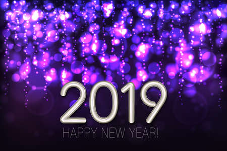 Happy New Year 2019 shining background with purple glitter and confetti. Vector