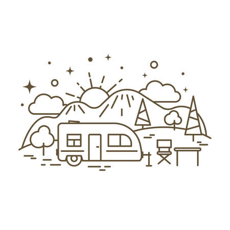 Cute flat line icon of camp trailer. Vector