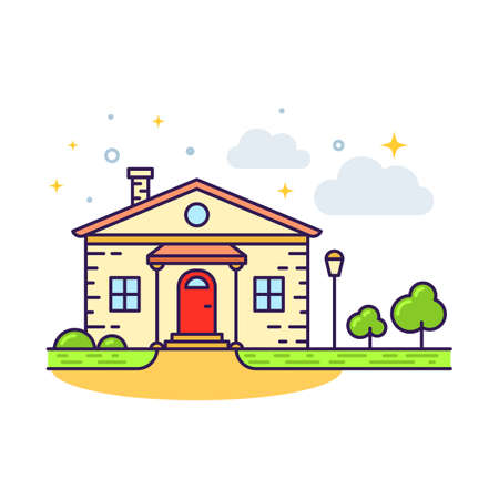 Cute flat line icon of colorful country house. Vector