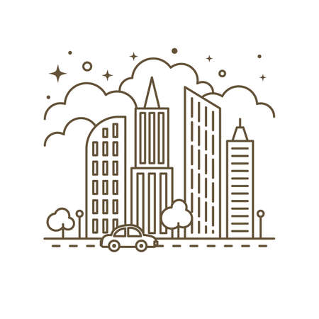 Cute flat line icon of city skyscrapers. Vector Illustration