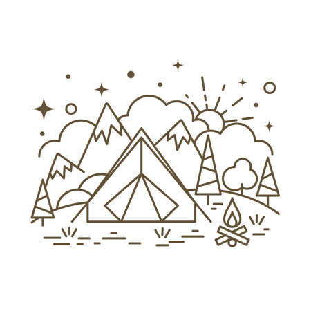 Cute flat line icon of tourist camping tent. Vector