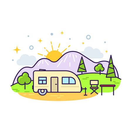 Cute flat line icon of colorful camp trailer. Vector
