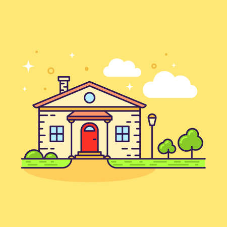 Cute flat line icon of colorful country house on yellow background. Vector