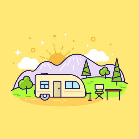 Cute flat line icon of colorful camp trailer on yellow background. Vector