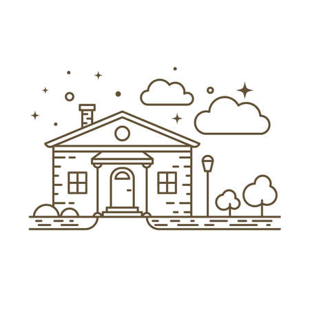 Cute flat line icon of country house. Vector