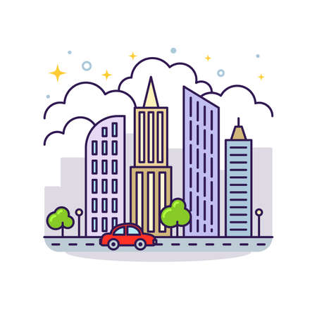 Cute flat line icon of colorful city skyscrapers. Vector