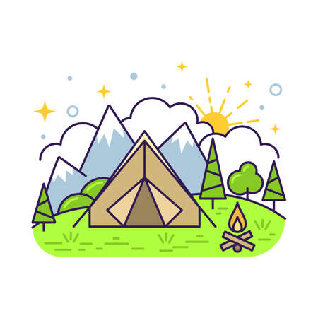 Cute flat line icon of colorful tourist camping tent. Vector