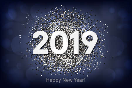 Happy New Year 2019 background with silver glitter and confetti. Vector