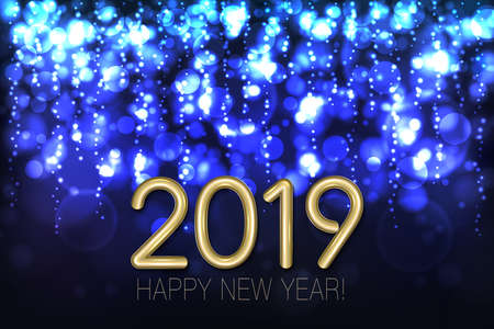 Happy New Year 2019 shining background with blue glitter and confetti. Vector Illustration