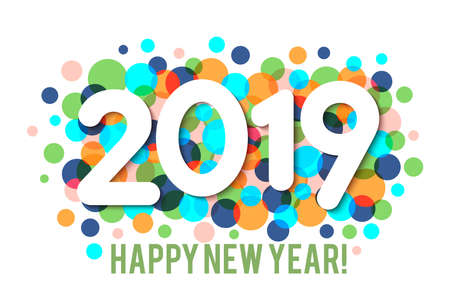 Happy New Year 2019 background with multicolored confetti. Vector Иллюстрация
