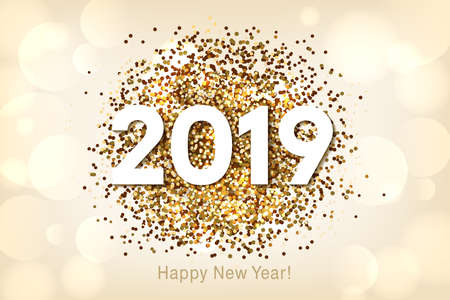 Happy New Year 2019 background with gold glitter and confetti. Vector