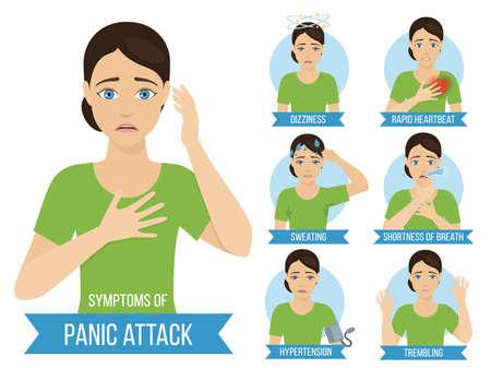 Sintomi comuni di attacco di panico e disturbo di panico. Infografica di medicina per opuscoli e riviste. Vettore
