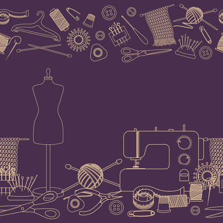 Seamless borders of tools for needlework and sewing. Handmade equipment and needlework accessoriesy, line cartoon illustration. Vector