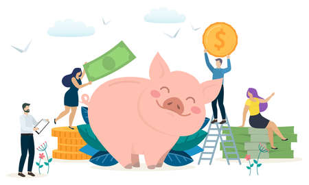 Concept of prosperity and capital accumulation. People save money in a piggy bank. Vector Çizim