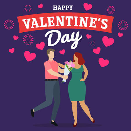 Couple of happy man and woman celebrate Valentines Day, give presents and have fun. Vector