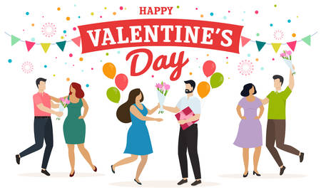 Couples of happy men and women celebrate Valentines Day, give presents and have fun. Vector Çizim