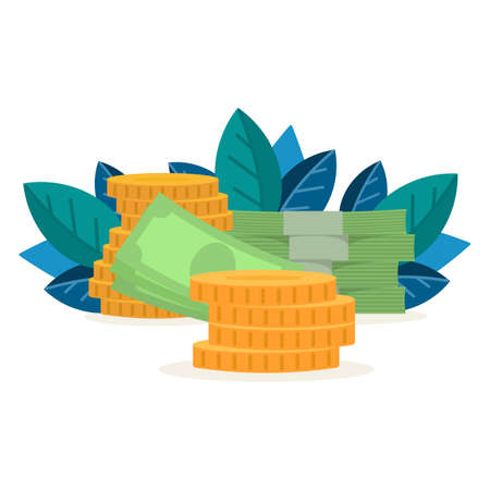 Money and coins. Concept of prosperity and capital accumulation. Vector