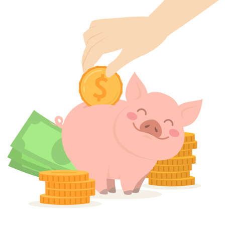 Cute piggy bank with money and coins. Concept of prosperity and capital accumulation. Vector Çizim