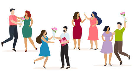 Couples of happy men and women celebrate some event, give presents and have fun. Vector Çizim