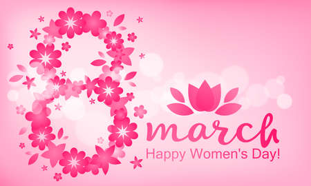 Festive background - 8 March, happy womens day, spring and flowers. Vector