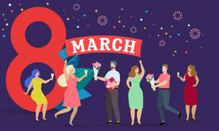 Men and women celebrate 8 march, give presents and have fun. Happy womens day. Vector Çizim