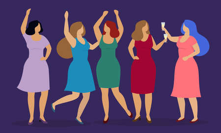 Group of happy women celebrate some event and have fun. Vector