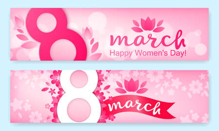 Set of horizontal banners, festive background - 8 March, happy womens day, spring and flowers. Vector