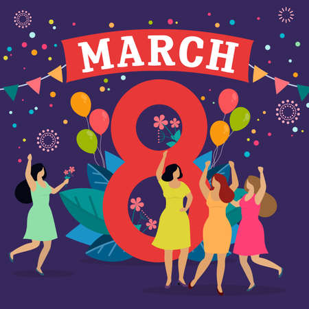 Women celebrate 8 march, give presents and have fun. Happy womens day. Vector