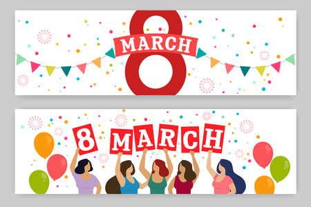 Set of horizontal banners, Women celebrate 8 march. Happy womens day. Vector
