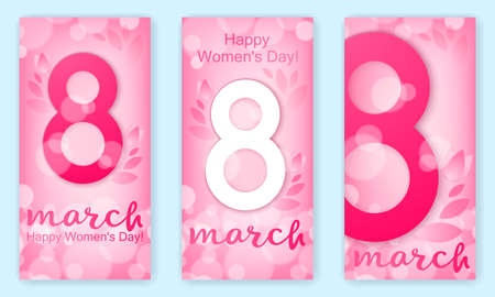 Set of vertical banners, festive background - 8 March, happy womens day, spring and flowers. Vector Çizim