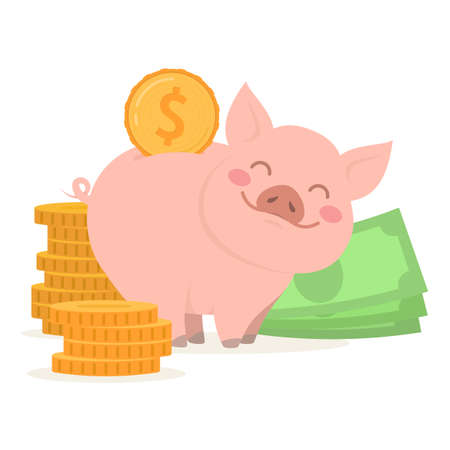 Cute piggy bank with money and coins. Concept of prosperity and capital accumulation. Vector Illustration
