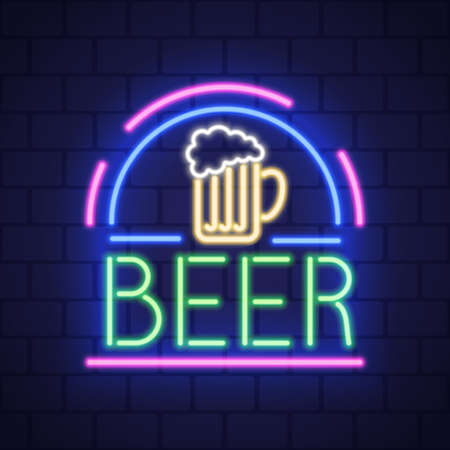 Night neon bar advensing. Bar badge in neon style, light banner, neon sign board. Vector
