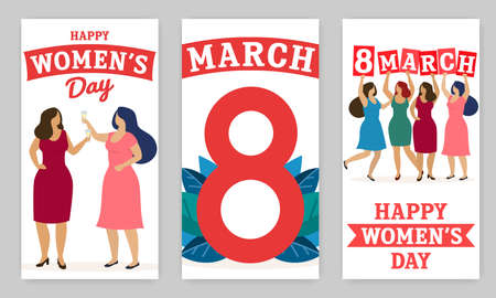 Set of vertical banners, women celebrate 8 march. Happy women s day. Vector
