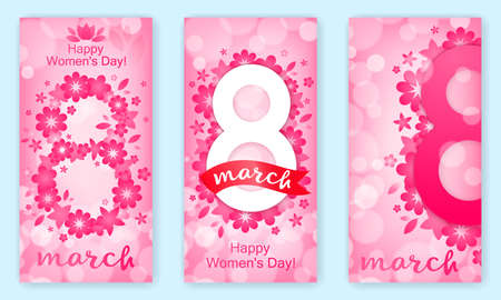 Set of vertical banners, festive background - 8 March, happy women s day, spring and flowers. Vector