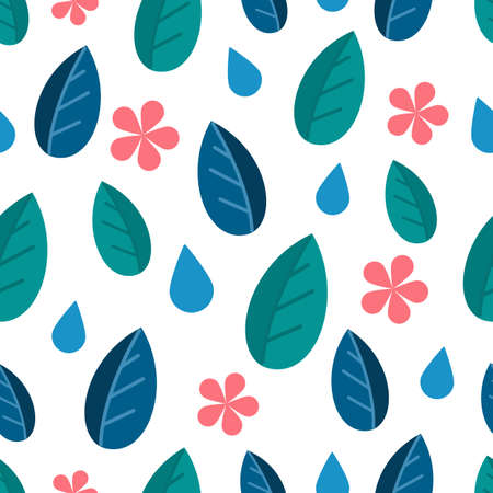 Festive seamless pattern of leaves and flowers. Vector Çizim