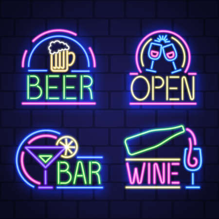 Set of night neon bar advensing. Bar badges in neon style, light banner, neon sign board. Vector Çizim