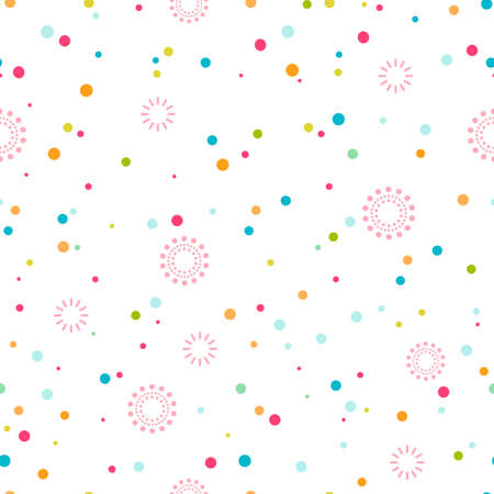 Festive seamless pattern of confetti and fireworks. Vector