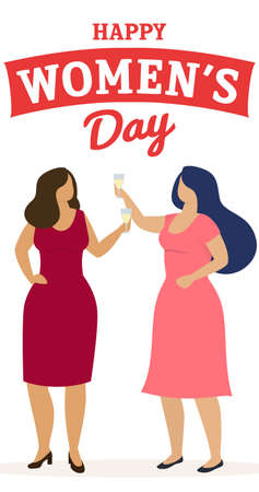Vertical banner, women celebrate 8 march. Happy women s day. Vector