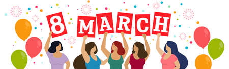Horizontal banner, Women celebrate 8 march. Happy women s day. Vector
