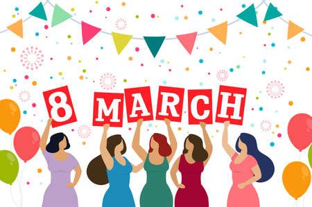 Women celebrate 8 march. Happy women s day. Vector
